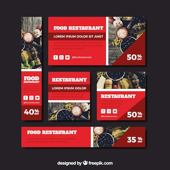 Restaurant web-banner-sammlung mit foto