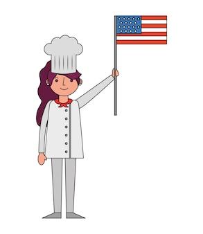 Restaurant weiblicher chef mit usa-flagge
