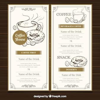 Restaurante-menüschablone mit kaffeestube