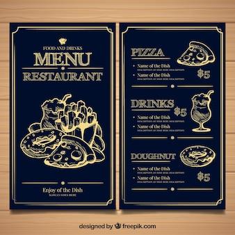 Restaurante-menüschablone mit unterschiedlichem lebensmittel