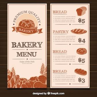 Restaurante menüvorlage mit bäckerei