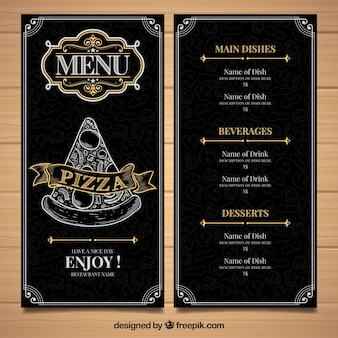 Restaurante menüvorlage mit pizza