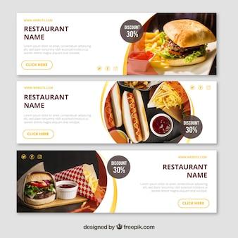 Restaurantfahne mit fotografie