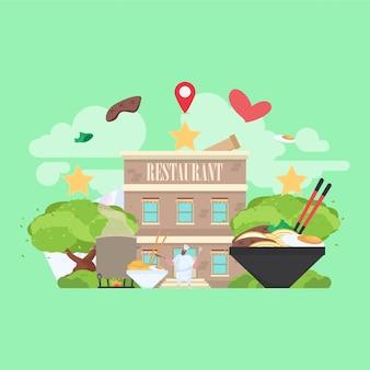 Restaurantgebäude mit lebensmittelbild im hintergrund