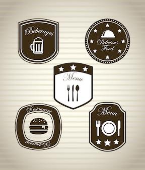 Restaurantikonen über weinlesehintergrund-vektorillustration