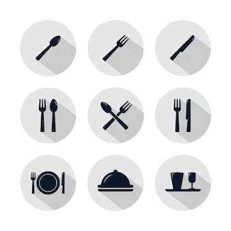 Restaurantikonensatz lokalisiert auf grauem kreis.