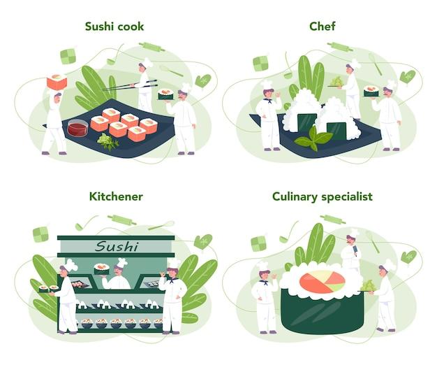 Restaurantkoch brötchen und sushi-set. sushi-koch in der schürze mit kochwerkzeug. professioneller arbeiter in der küche. isolierte vektorillustration im karikaturstil