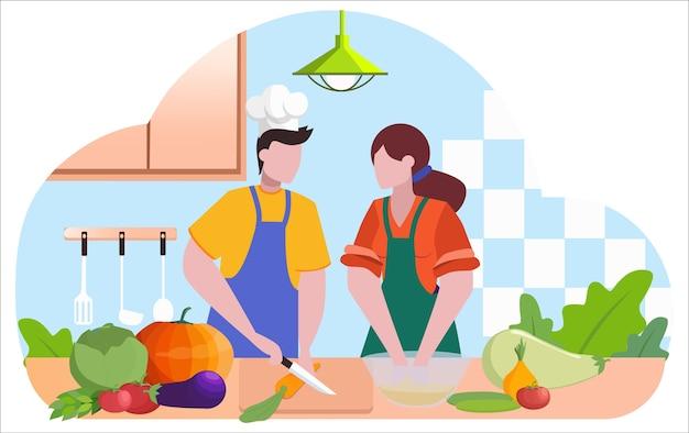 Restaurantkoch kocht. leute in der schürze machen leckeres gericht. professioneller arbeiter in der küche. essensshow. illustration