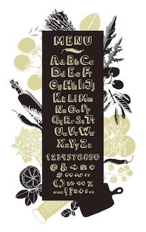 Restaurantküche menükarte handzeichnung alphabet