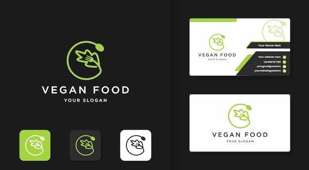 Restaurantlogo für vegetarisches essen Premium Vektoren