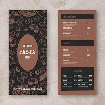 Restaurantmenü für pasta
