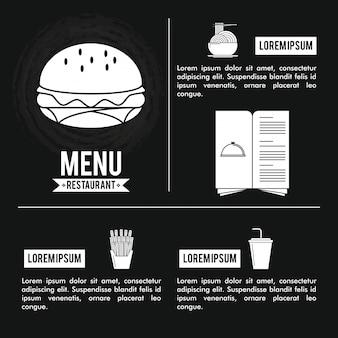 Restaurantmenüabdeckung mit informationen
