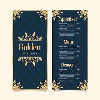 Restaurantmenüschablone goldenes design