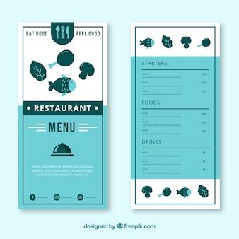 Restaurantmenüschablone in der flachen art