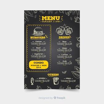 Restaurantmenüschablone mit Tafelart