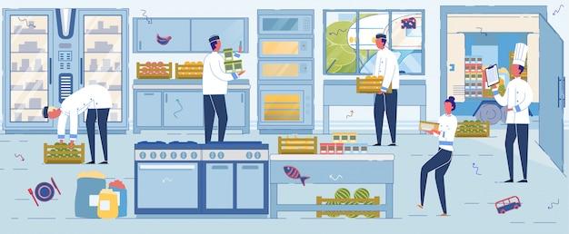 Restaurantmitarbeiter akzeptieren und organisieren sie die versorgung mit frischen lebensmitteln.