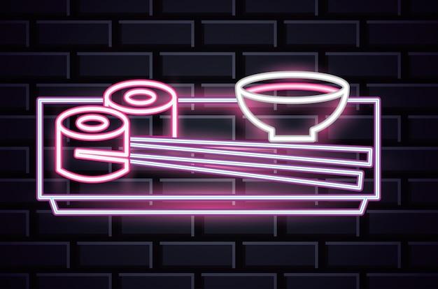 Restaurantneonlichtwerbung auf backsteinmauer