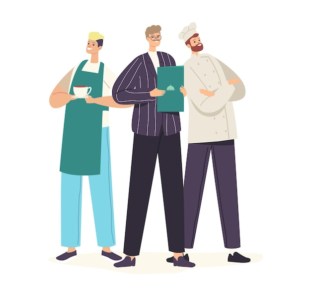 Restaurantpersonal charaktere in uniform posing. koch in haube und schürze, administrator und kellner, der menü vorführt, café, pizzeria, bäckerei-gastgeber-team. cartoon-menschen-vektor-illustration