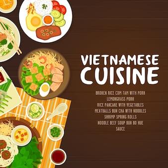 Restaurantplakat der vietnamesischen küche.