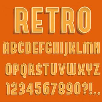 Retro 3d alphabet buchstaben, zahlen und symbol