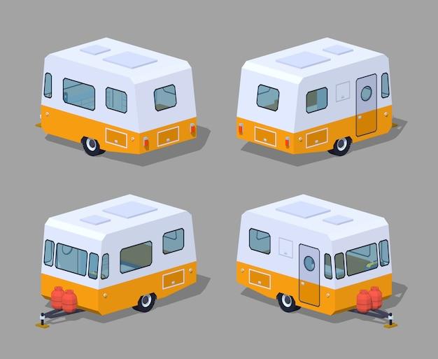 Retro 3d isometrische wohnmobil