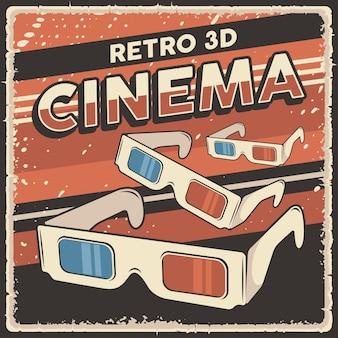 Retro 3d-kino-brillen-signage-poster