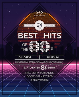 Retro 80er hits party poster