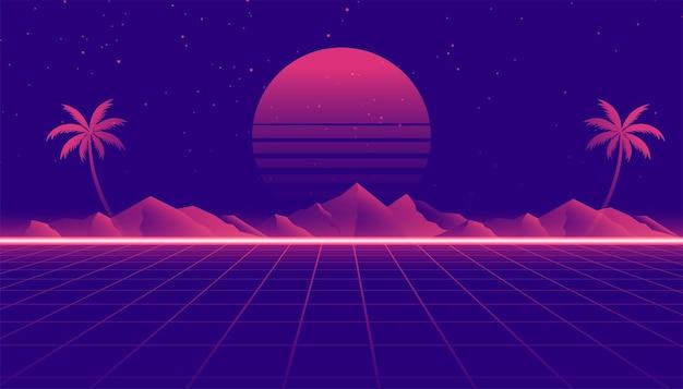 Retro 80er jahre landschaftsszene im spielstil