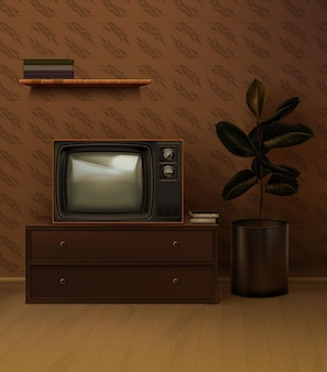Retro 80er jahre realistische schwarze tv-set im raum