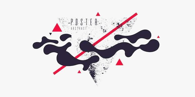 Retro-abstrakter hintergrund. das poster mit den flachen figuren. vektor-illustration.