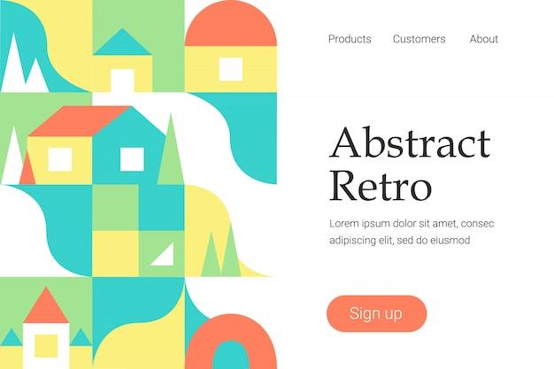 Retro- abstraktes geometrisches design für websiteschablone oder landingpage