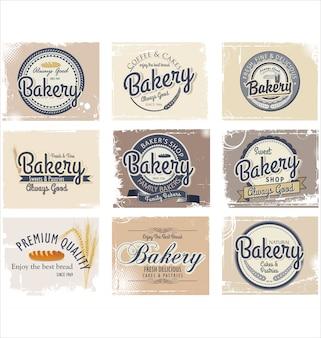 Retro abzeichen und etiketten der bäckerei