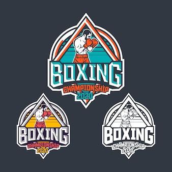 Retro-abzeichenschablone der boxmeisterschaft 2020 mit boxerillustration
