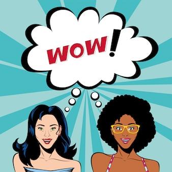 Retro afro und schwarze haarfrauenkarikaturen mit wow-blasenvektor