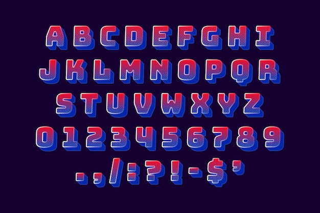 Retro- alphabet 3d