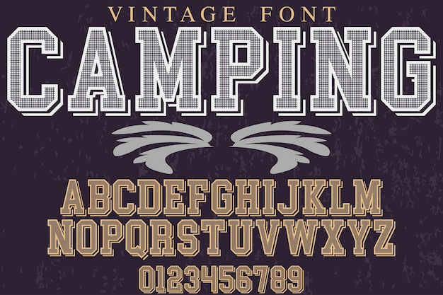 Retro alphabet label design camping