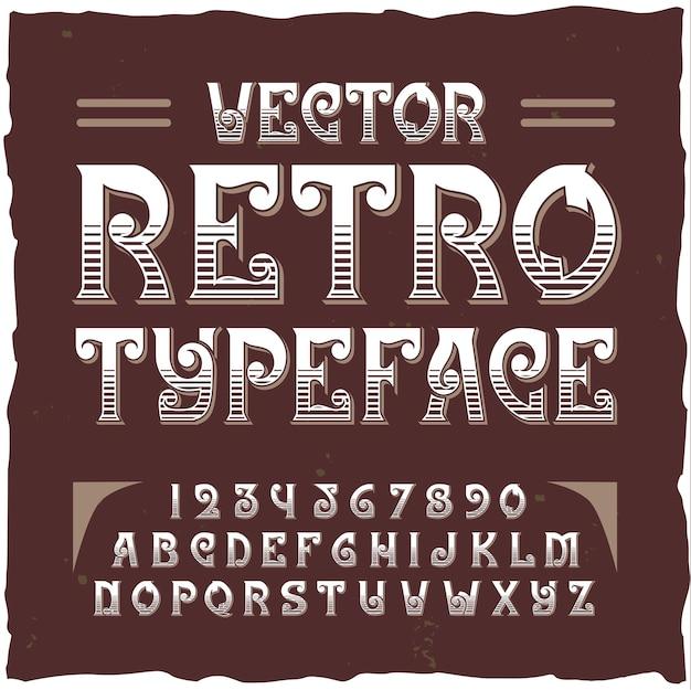 Retro-alphabet mit bearbeitbarem verziertem text mit isolierten ziffern und buchstaben