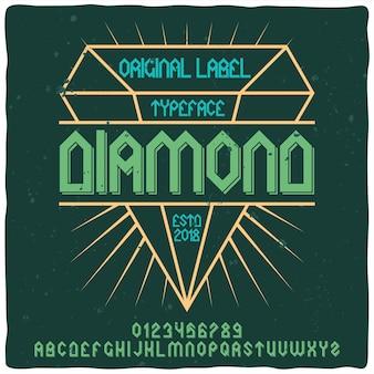 Retro alphabet und etikettenschrift mit diamant.