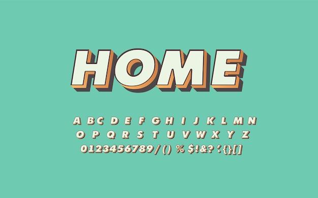 Retro alphabetische schriftart. extrudierte art von buchstaben und zahlen. große buchstaben mit schatten.