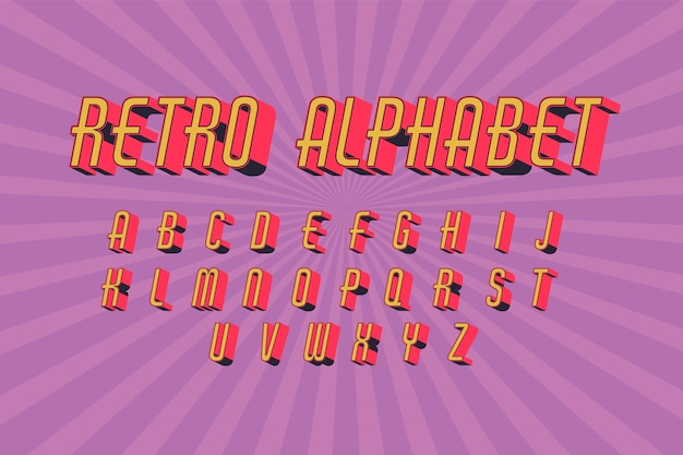 Retro- alphabetisches design 3d