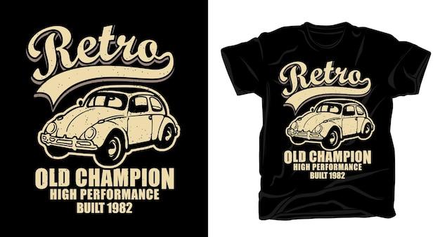Retro alte champion-typografie mit klassischem auto-t-shirt