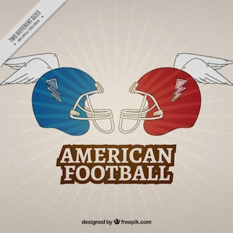 Retro american football hintergrund der helm mit helm
