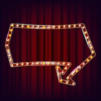 Retro anschlagtafel-vektor. leuchtendes licht-schild. leuchten sie lampenrahmen. leuchtendes element. vintage beleuchtete neonlicht. casino-stil. illustration