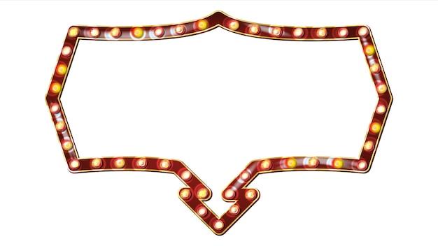 Retro anschlagtafel-vektor. leuchtendes licht-schild. realistischer scheinwerferrahmen. elektrisches glühendes element 3d. karneval, zirkus, kasinoart. getrennte abbildung