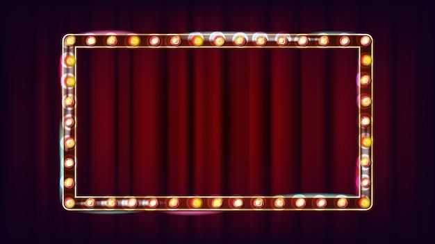 Retro anschlagtafel-vektor. leuchtendes licht-schild. realistischer scheinwerferrahmen. elektrisches glühendes element 3d. weinlese-goldenes belichtetes neonlicht. illustration