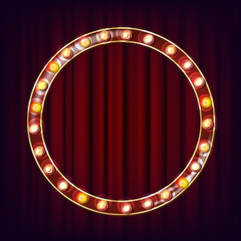 Retro anschlagtafel-vektor. leuchtendes licht-schild. realistischer scheinwerferrahmen. leuchtendes element. vintage neonlicht. zirkus im casino-stil. illustration