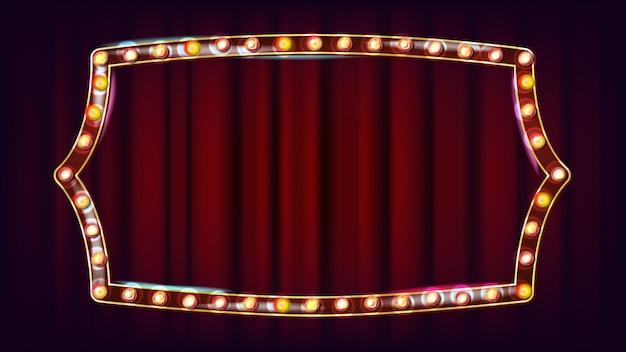 Retro anschlagtafel-vektor. leuchtendes licht-schild. realistischer scheinwerferrahmen. weinlese-goldenes belichtetes neonlicht. karneval, zirkus, kasinoart. illustration