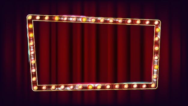 Retro anschlagtafel-vektor. leuchtendes licht-schild. weinlese-goldenes belichtetes neonlicht. karneval, zirkus, kasinoart. illustration