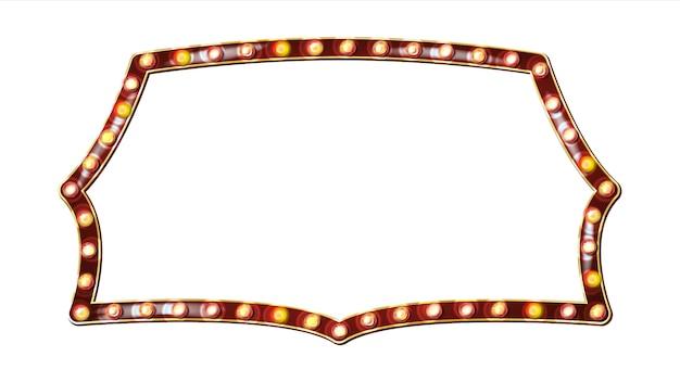 Retro anschlagtafel-vektor. realistischer scheinwerferrahmen. elektrisches glühendes element 3d. weinlese-goldenes belichtetes neonlicht. karneval, zirkus, kasinoart. getrennte abbildung