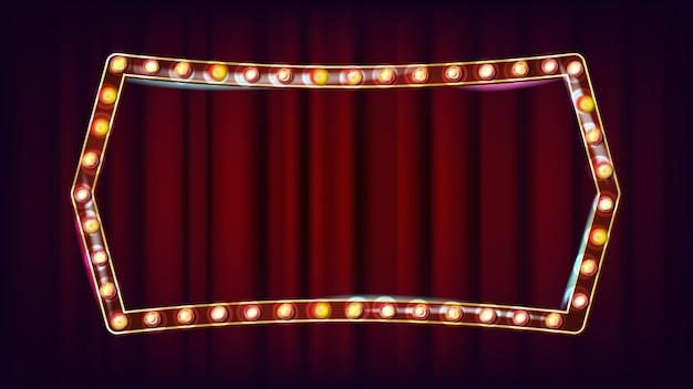 Retro anschlagtafel-vektor. realistischer scheinwerferrahmen. elektrisches glühendes element 3d. weinlese-goldenes belichtetes neonlicht. karneval, zirkus, kasinoart. illustration